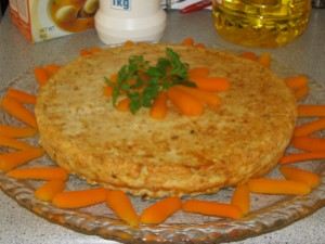 Gefilte Fish 'Loaf' with cooked carrot garnish